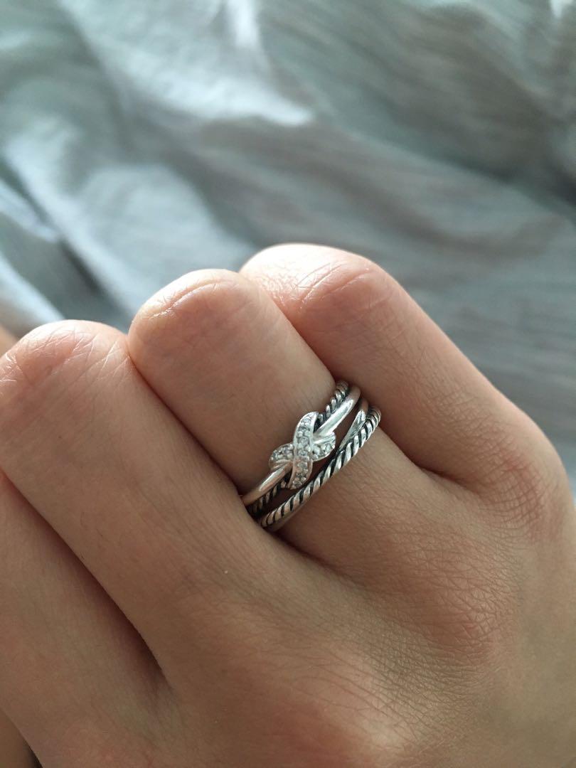 David Yurman X Crossover Ring with Diamonds