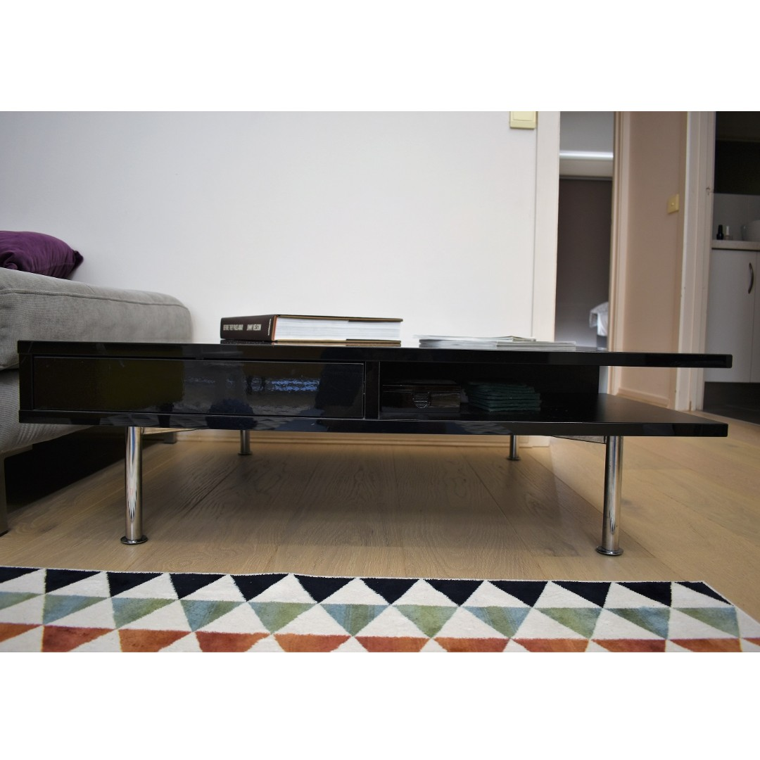 Glossy Black Contemporary Coffee Table - Good Condition