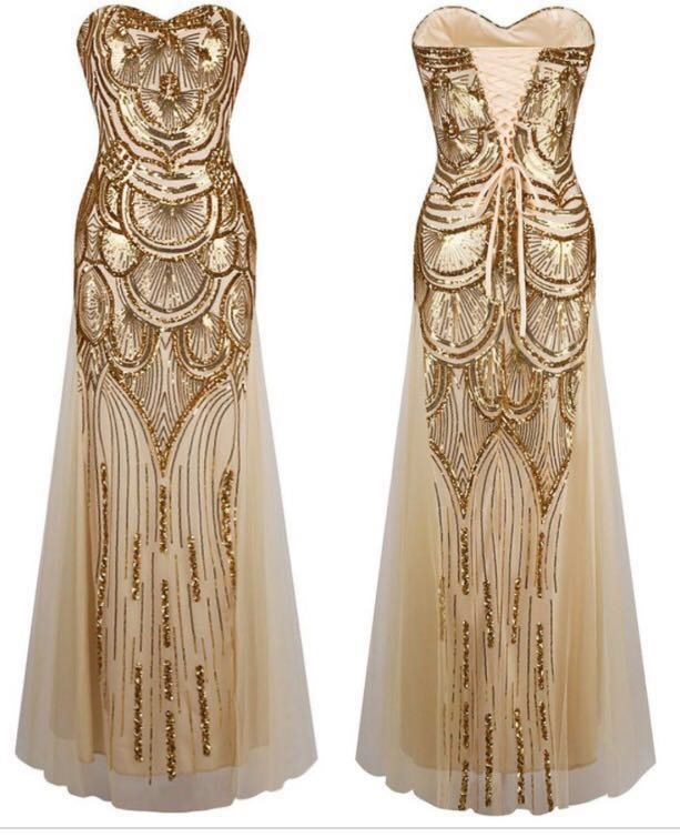 Great Gatsby Gold Sequin Gown Women S Fashion Clothes Dresses Skirts On Carou