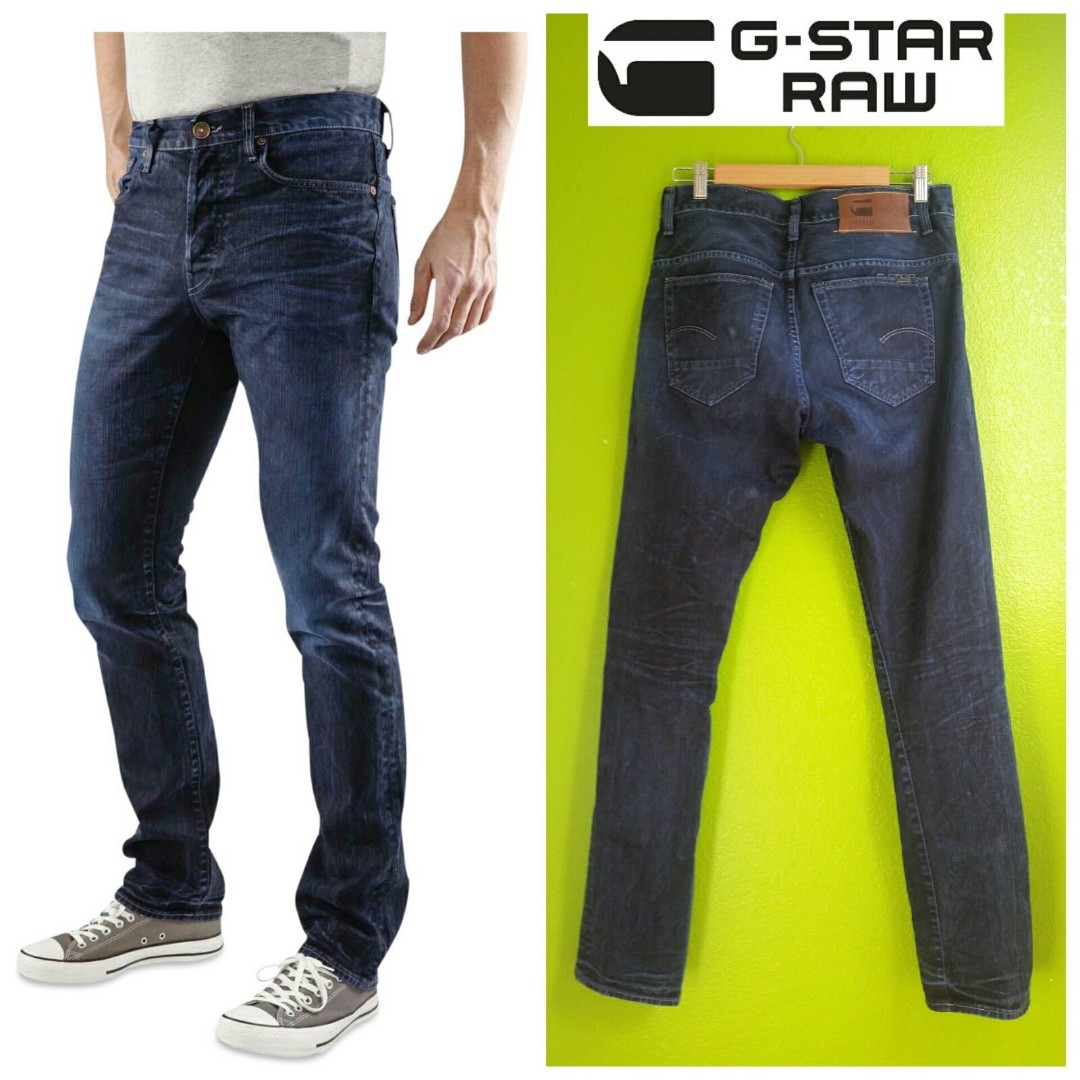 c3996bcf0bf4 G-STAR RAW Men 3301 Slim Aged Dark Jeans W31L32 (Italy Made)