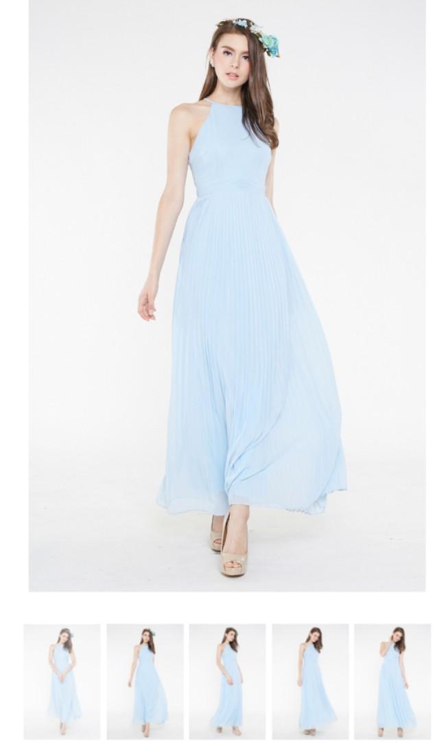 0a2a06b984 INTQ LABEL  TILLIE PRESS PLEATS MAXI DRESS IN LIGHT BLUE