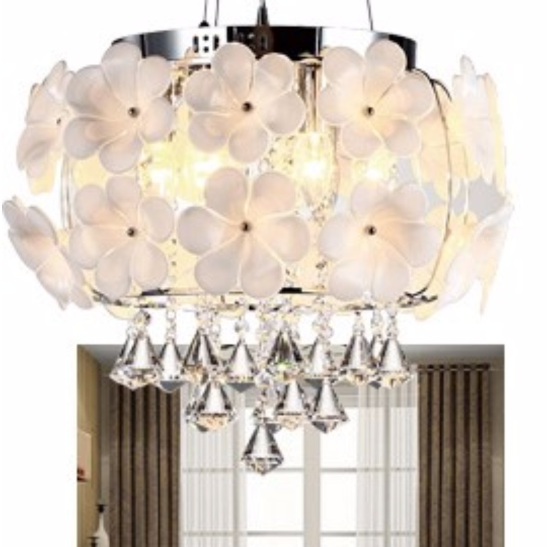 Led White Flower Pendant Light Furniture Home Decor On Carousell