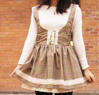 Lolita inspired dress/dungaree skirt