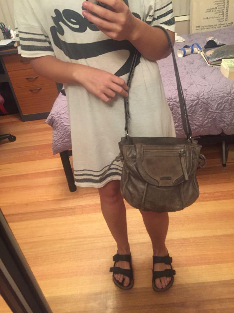 Mimco leather grey bag