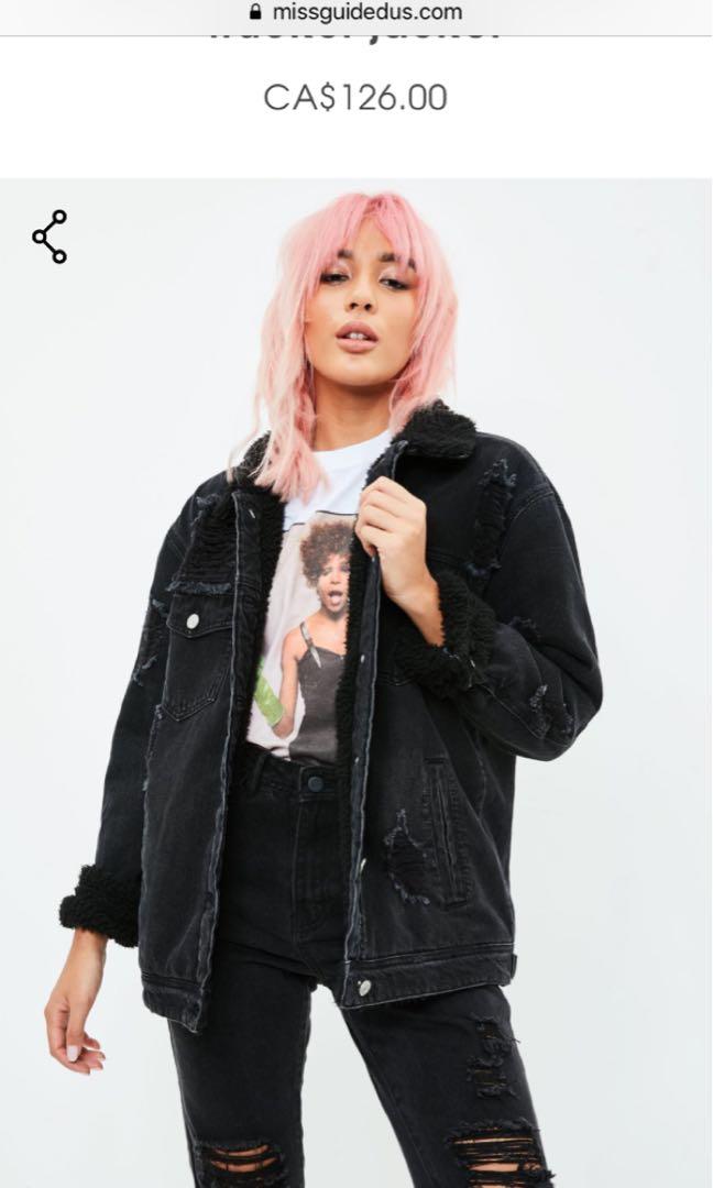 Missguided fur lined denim jacket