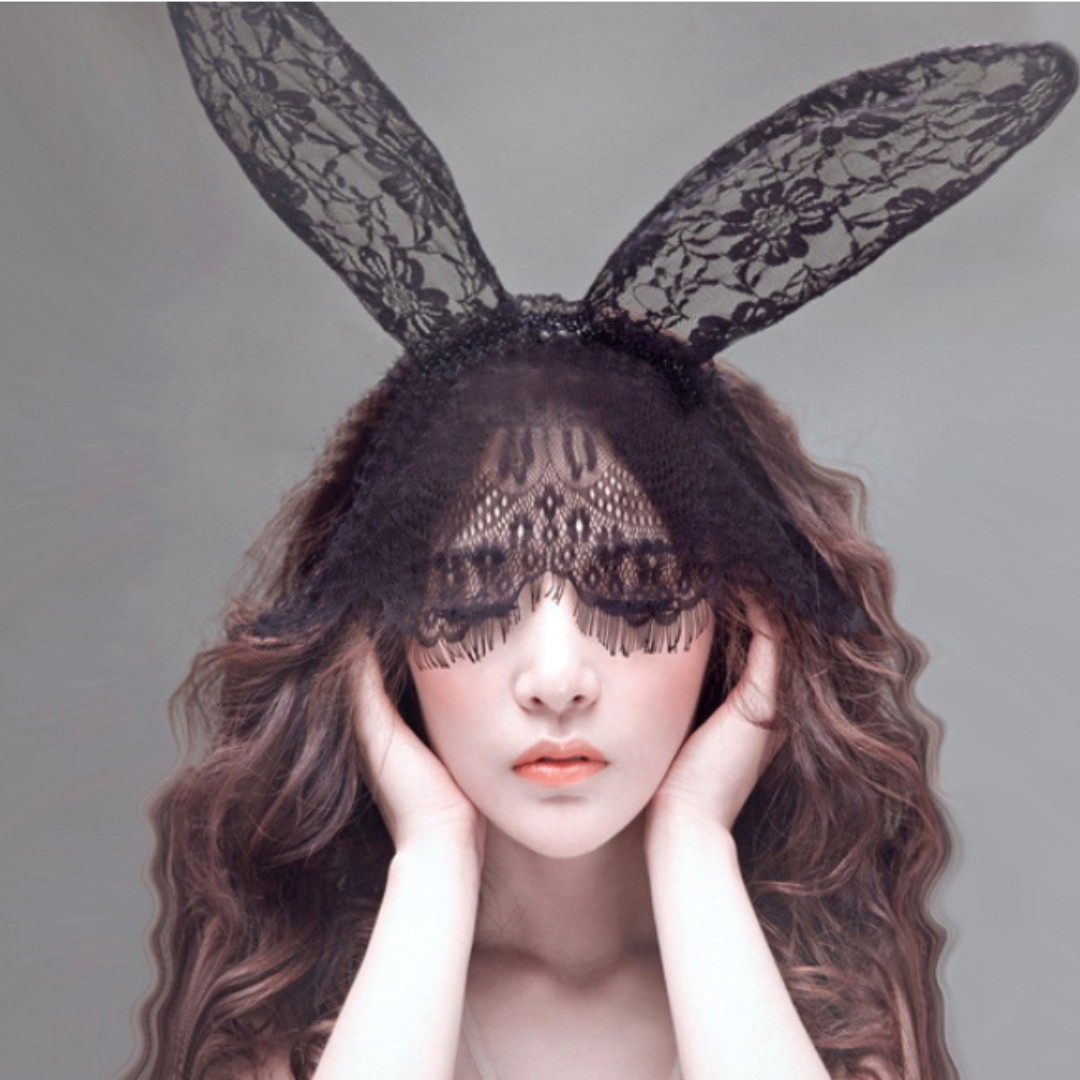 Party D&D dinner costume women lace Bunny ears hairband with mask, Women's  Fashion, Accessories on Carousell