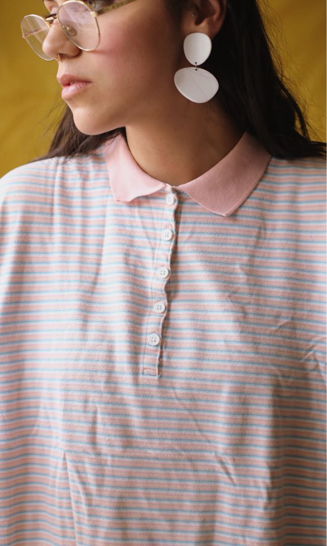 Pastel Pink and Blue Polo