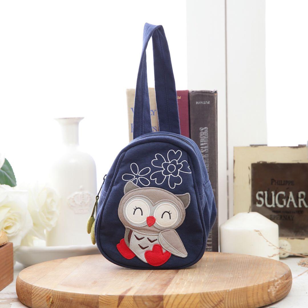 (PO) Taiwan Cute Smiling Owl Mini Hand / Lunch Bag