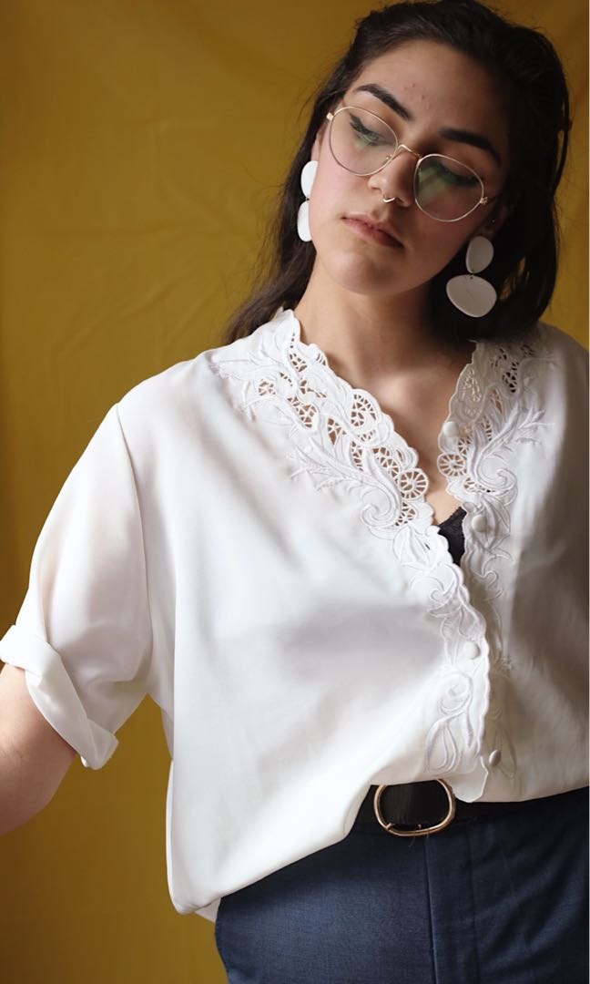 Vintage Silky Lace Collar Button Down