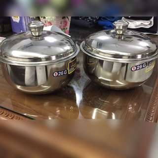 Promotion for this week-Set of 2 Medium Stainless Steel Cookware with Covering Lids