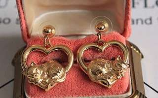 Vintage Avon 貓公仔心型耳環