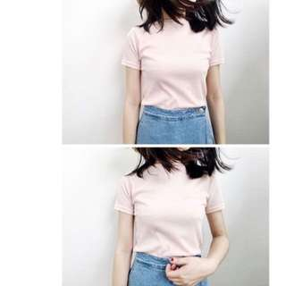 PINK KNIT MOCK NECK TEE