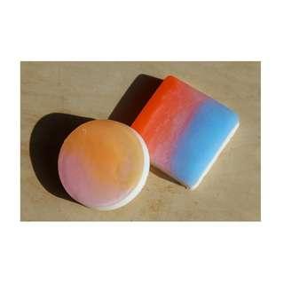 Shimmering ombre handmade soap