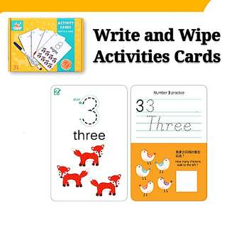 Numbers Write and Wipe Activities Flash Cards Early Childhood Learning Resources Set