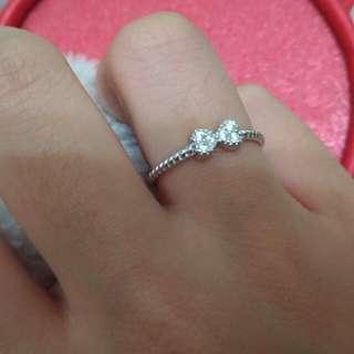 蝴蝶結可調式純銀戒指