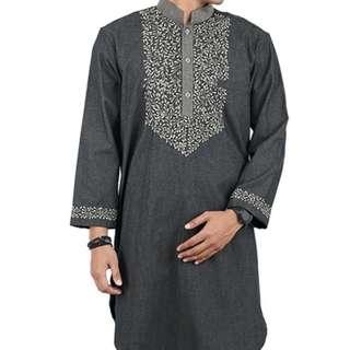 Baju Koko Gamis Pria Casual Sarimbit Lengan Panjang Abu Bahan Cotton