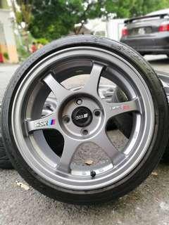 Ssr type c-rs thailand 15 inch sports rim kenari tyre 70%.