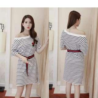 Embroided Stripes Dress