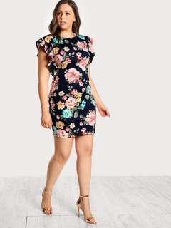 Plussize! Floral Ruffle Dress