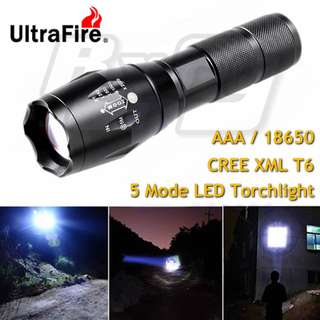 UltraFire Cree XML T6 800 Lumen LED Torchlight Torch Light Flashlight Zoomable 18650 AAA