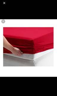 Ikea Dvala (King) Fitted Sheet, Red (180x200cm)