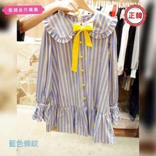 [正韓]早春新款娃娃裝短蝴蝶結繫帶長袖條紋小清新連衣裙小洋裝