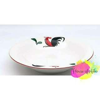 Piring Makan Keramik Motif Ayam Jago uk 23 cm