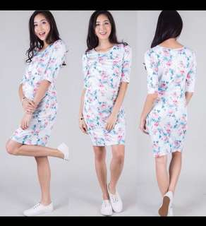 Jumpeatcry Floral Bodycon Maternity/Nursing Dress