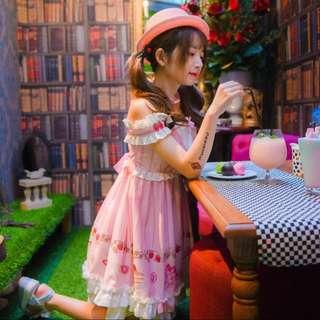 可愛lolita 粉紅洋裝