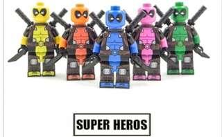 5 PCS LEGO MINIFIGS MINIFIGURES DEADPOOL MARVEL SUPERHEROES MERCENARY NEW AUTHENTIC CUSTOM LEGO