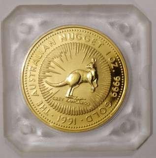 1991 Australian Gold Kangaroo Nugget - 1 oz [GUARANTEED BELOW DEALER'S PRICE]