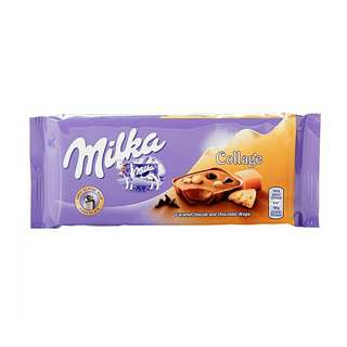 Milka 100g (New Flavour) 🍬Caramel, Biscuit & Choclate Drops (Collage)