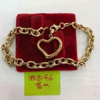 Saudi Gold Chained Bracelet-Heart