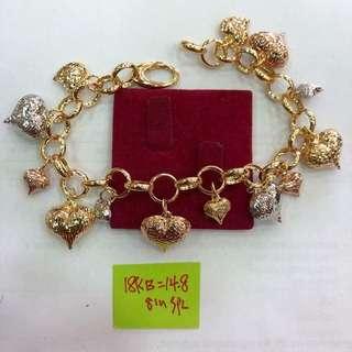 Saudi Gold Bracelet-Hearts