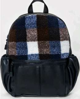 Mossimo Supply Co Womens Buffalo Check Faux Fur Backpack Navy