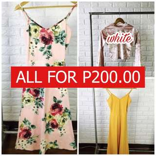 Midi dress + White Bell sleeve top all for P200.00