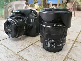 Canon 650D (18-55mm and 50mm lens with camera bag)