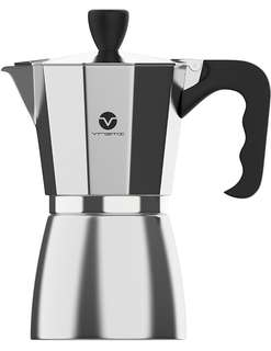 Vremi Stovetop Espresso Maker - Moka Pot Coffee Maker for Gas or Electric Stove Top - 6 Cups Demitasse Espresso Shot Maker for Italian Espresso Cappuccino or Latte - Silver