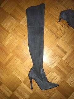 Zara Thigh High Boots Grey