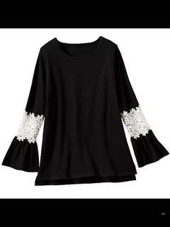 🚚 黑色長版素t拼接蕾絲袖洋裝