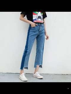 🚚 韓國拼色牛仔寬褲