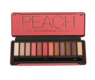 [IN-STOCK] BYS Peach Eyeshadow Palette Tin with Mirror Applicator 12 Matte & Metallic Shades