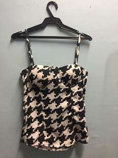 Almost New Houndstooth Ruched Corset Bustier Top