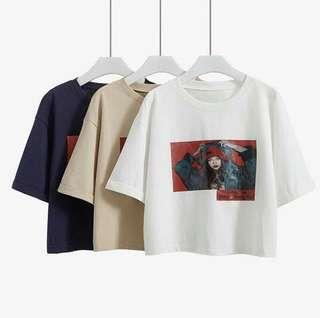🚚 正韓 短版袖反折vintage 照片T