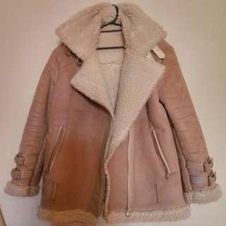 正韓裸粉麂皮羔毛騎士大衣外套