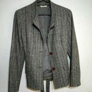 專櫃Wanko綁帶挺毛料西裝外套