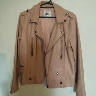 專櫃DIIA裸粉色皮衣/皮外套