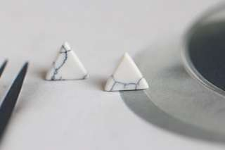 S925 White Marble Earring