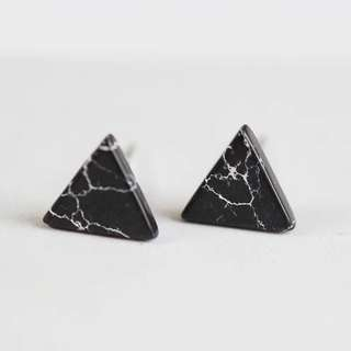 S925 Black Marble Ear stud