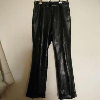 日貨皮褲 直筒寬褲